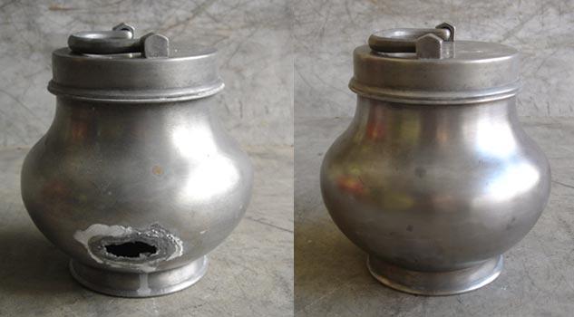 Avant-après: réparation d'un pot à bouillon en étain
