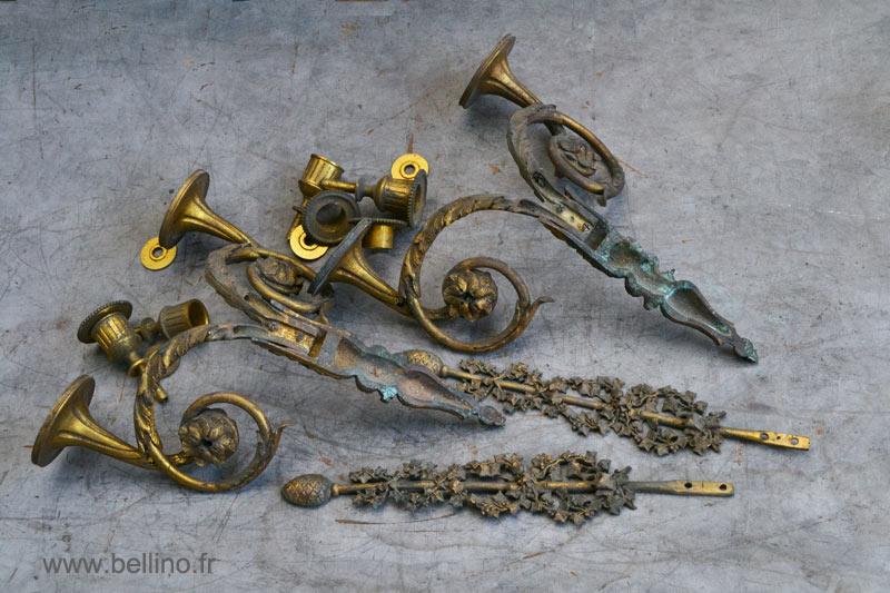 Démontage des appliques Louis XVI en bronze