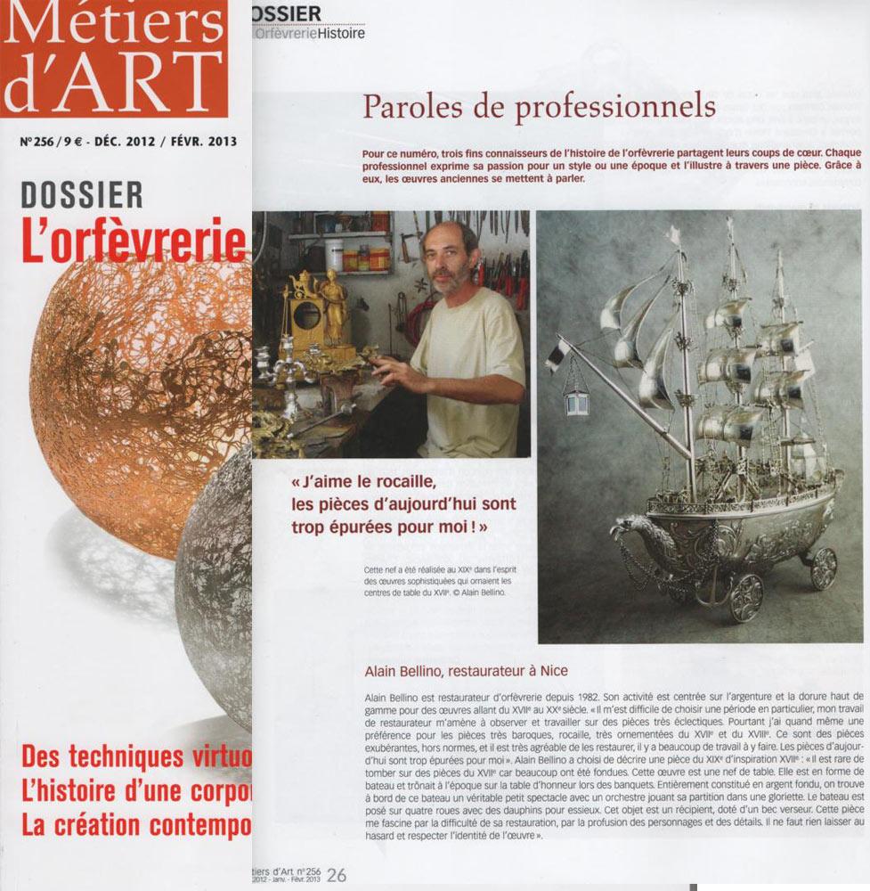 Article sur le numéro de Décembre de la revue métiers d'art