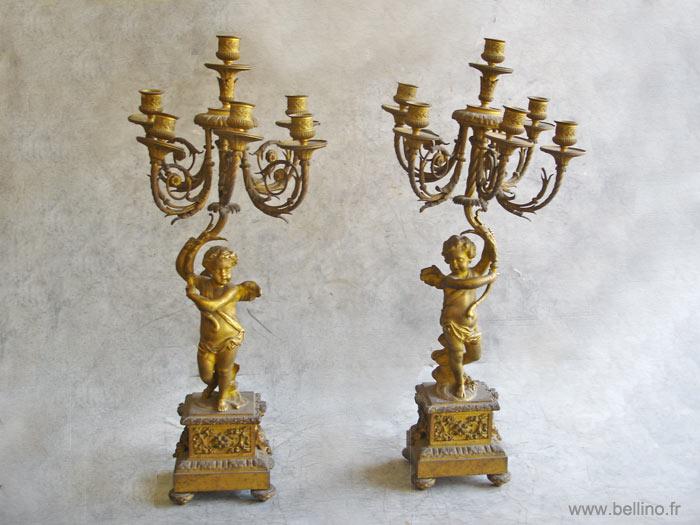 Chandeliers XIXème en bronze doré avant réparation