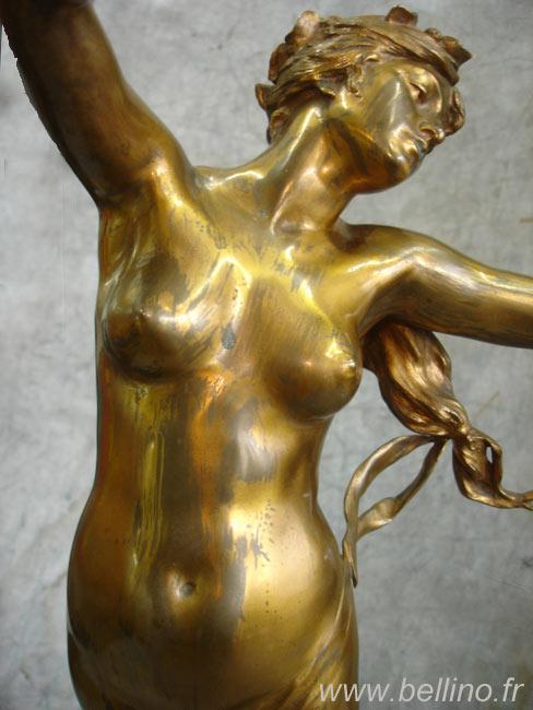 Buste de la sculpture en bronze doré