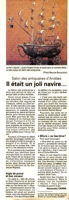 article sur la nef Aquila en argent massif