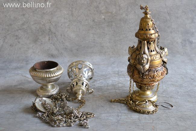Les encensoirs aavnt réparation et argenture