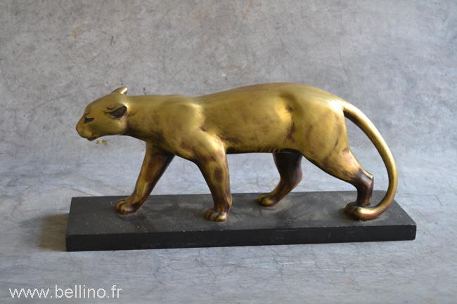 La panthère en bronze avant restitution de la patine