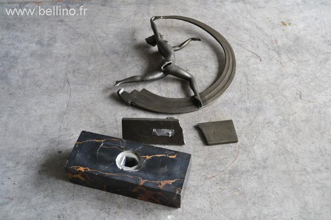 Sculpture de Janle avant réparation et patine