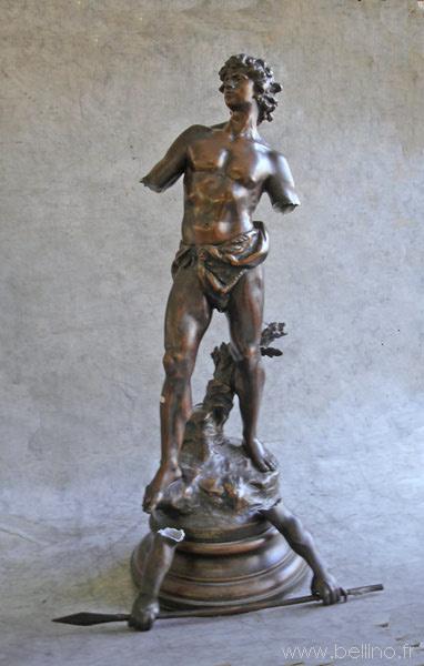 Sculpture en régule avant soudure et patine